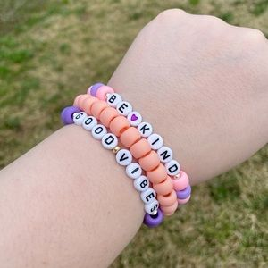 """""""Be Kind"""" and """"Good Vibes"""" Beaded Bracelet Stack"""